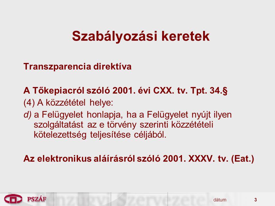 dátum3 Szabályozási keretek Transzparencia direktíva A Tőkepiacról szóló 2001. évi CXX. tv. Tpt. 34.§ (4) A közzététel helye: d) a Felügyelet honlapja