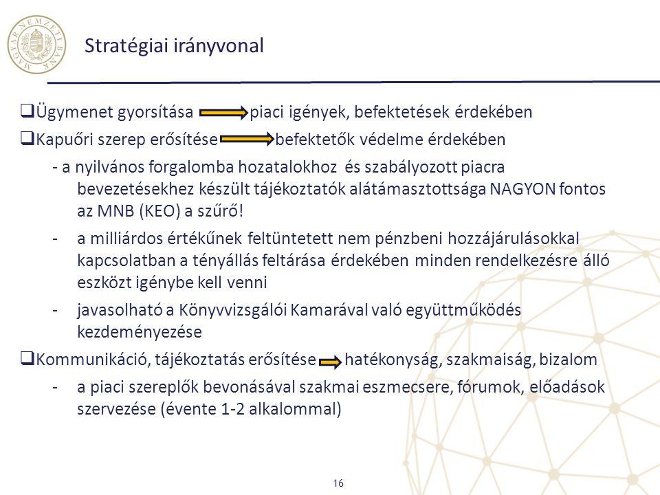 Stratégiai irányvonal 16  Ügymenet gyorsítása piaci igények, befektetések érdekében  Kapuőri szerep erősítése befektetők védelme érdekében - a nyilv