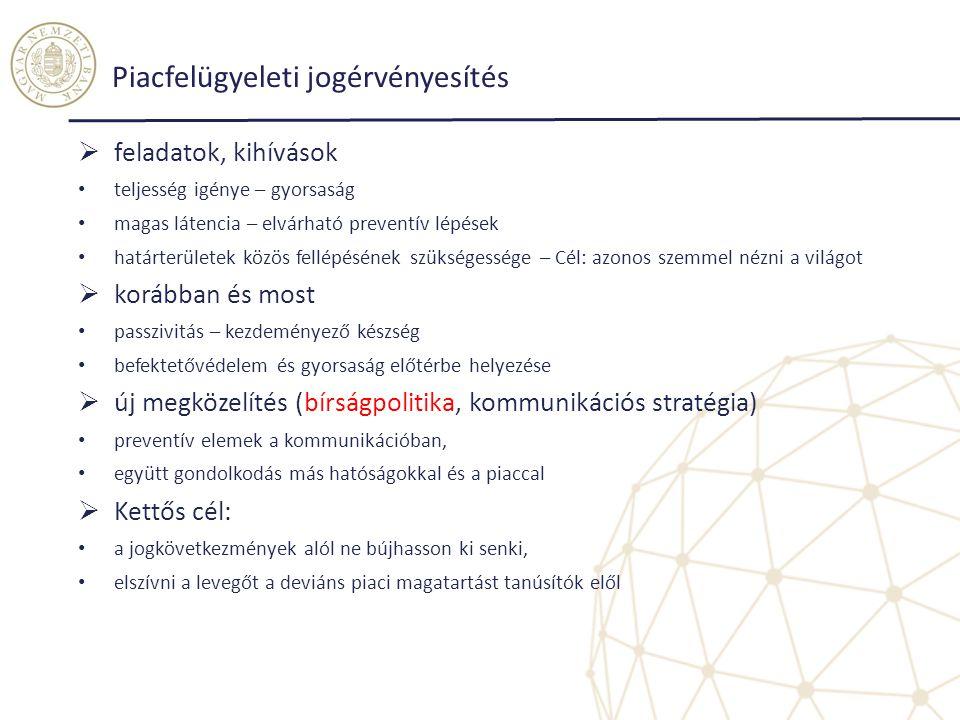 Piacfelügyeleti jogérvényesítés  feladatok, kihívások teljesség igénye – gyorsaság magas látencia – elvárható preventív lépések határterületek közös