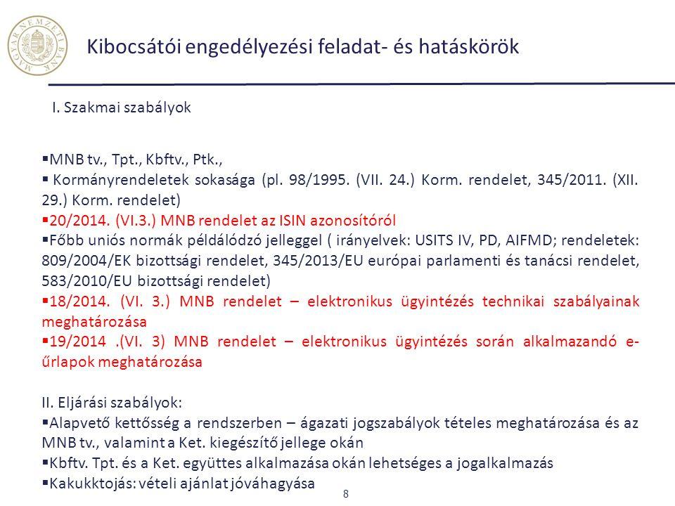 Kibocsátói engedélyezési feladat- és hatáskörök 8 I. Szakmai szabályok  MNB tv., Tpt., Kbftv., Ptk.,  Kormányrendeletek sokasága (pl. 98/1995. (VII.