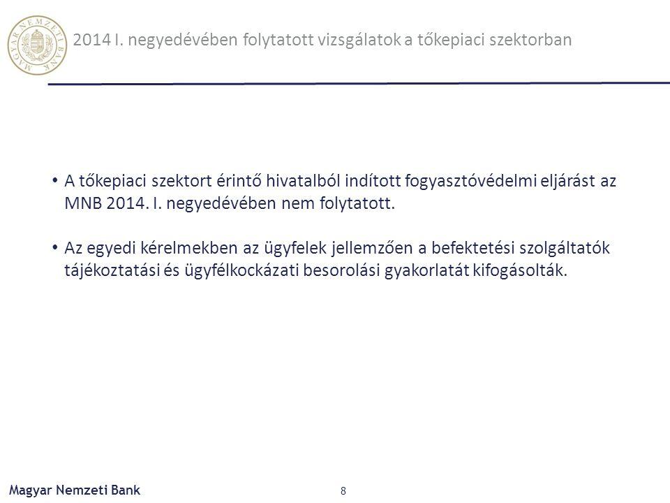 Magyar Nemzeti Bank 8 A tőkepiaci szektort érintő hivatalból indított fogyasztóvédelmi eljárást az MNB 2014. I. negyedévében nem folytatott. Az egyedi