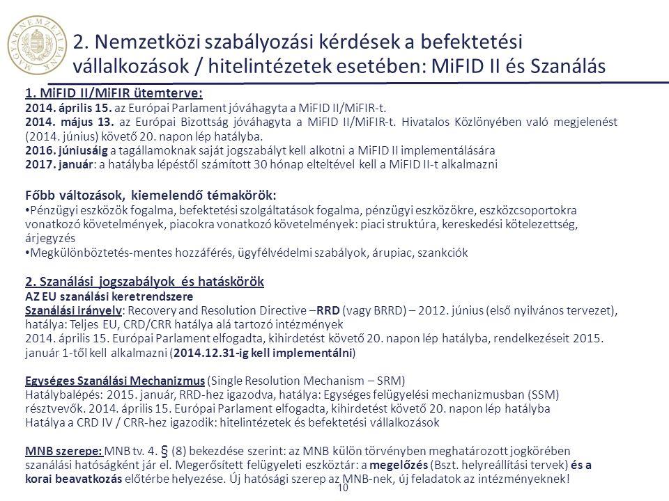 1. MiFID II/MiFIR ütemterve: 2014. április 15. az Európai Parlament jóváhagyta a MiFID II/MiFIR-t. 2014. május 13. az Európai Bizottság jóváhagyta a M