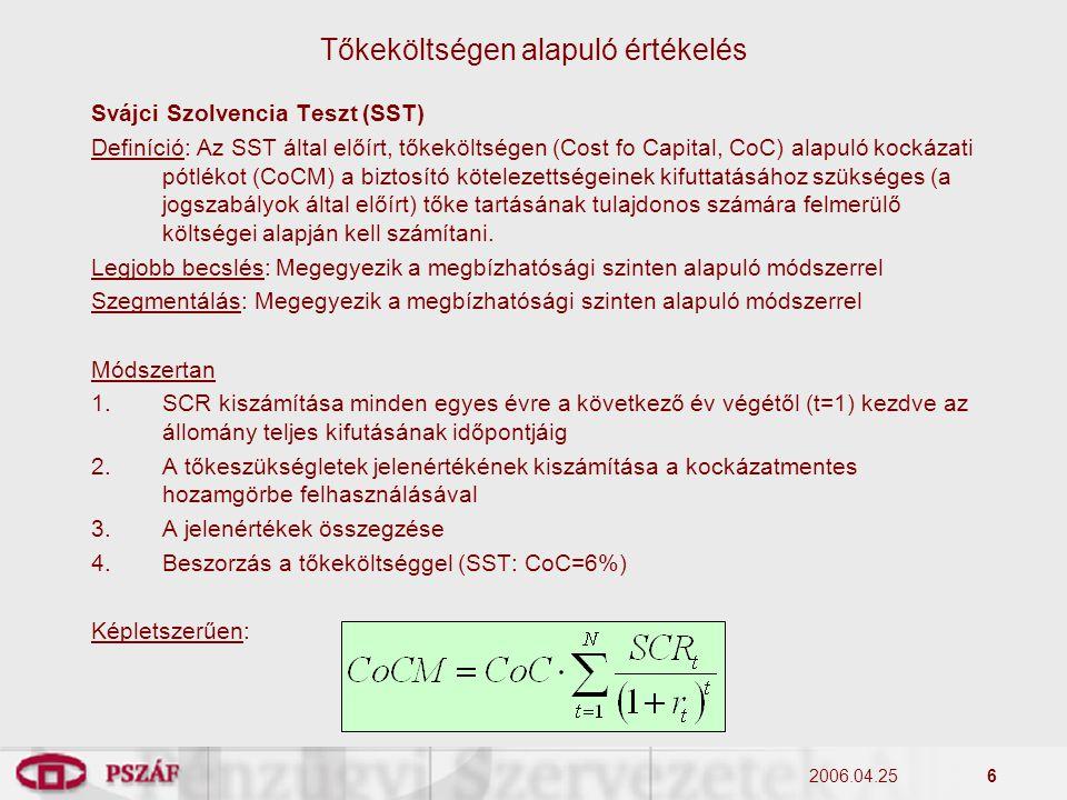2006.04.256 Svájci Szolvencia Teszt (SST) Definíció: Az SST által előírt, tőkeköltségen (Cost fo Capital, CoC) alapuló kockázati pótlékot (CoCM) a biz