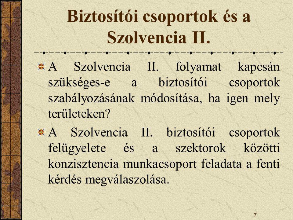 7 Biztosítói csoportok és a Szolvencia II.A Szolvencia II.