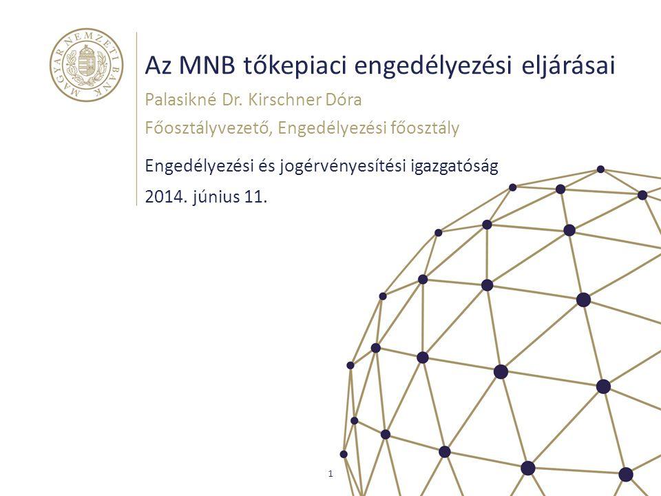 Az MNB tőkepiaci engedélyezési eljárásai Engedélyezési és jogérvényesítési igazgatóság Palasikné Dr. Kirschner Dóra Főosztályvezető, Engedélyezési főo