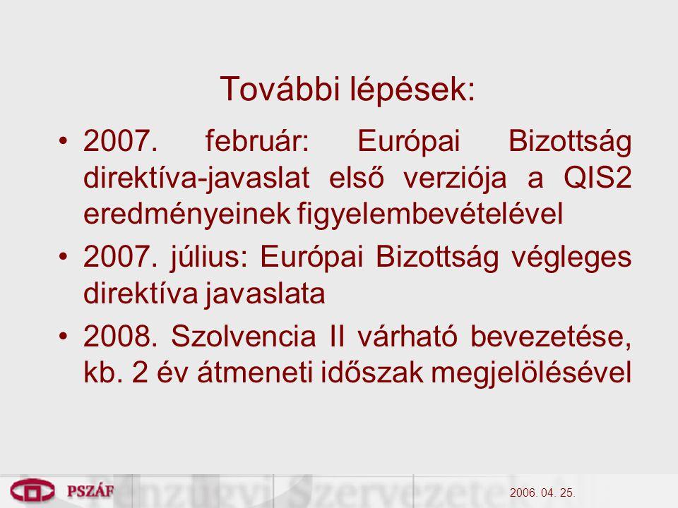 2006. 04. 25. További lépések: 2007.