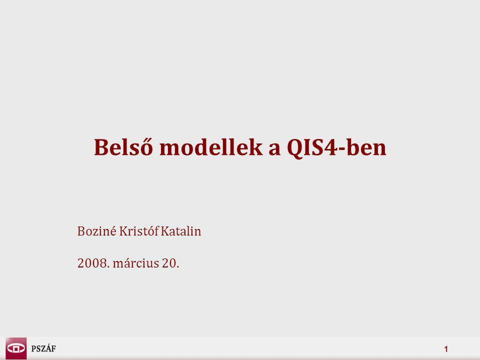 12 A QIS 4 céljai (1/2) 1.Megbízható és összehasonlítható adatok gyűjtése a jelenleg használt részleges és teljes belső modellekről (C, D) –A direktíva-tervezet követelményeivel való összhang (C) –Az eredmények és a modellezési feltételek összehasonlítása –A különbségek értelmezése, magyarázata –Összehasonlíthatóság: 99,5% VaR biztonsági szint 1 éves időtávon –Eredeti kalibráció leírása (kockázati mérték, biztonsági szint, időhorizont)