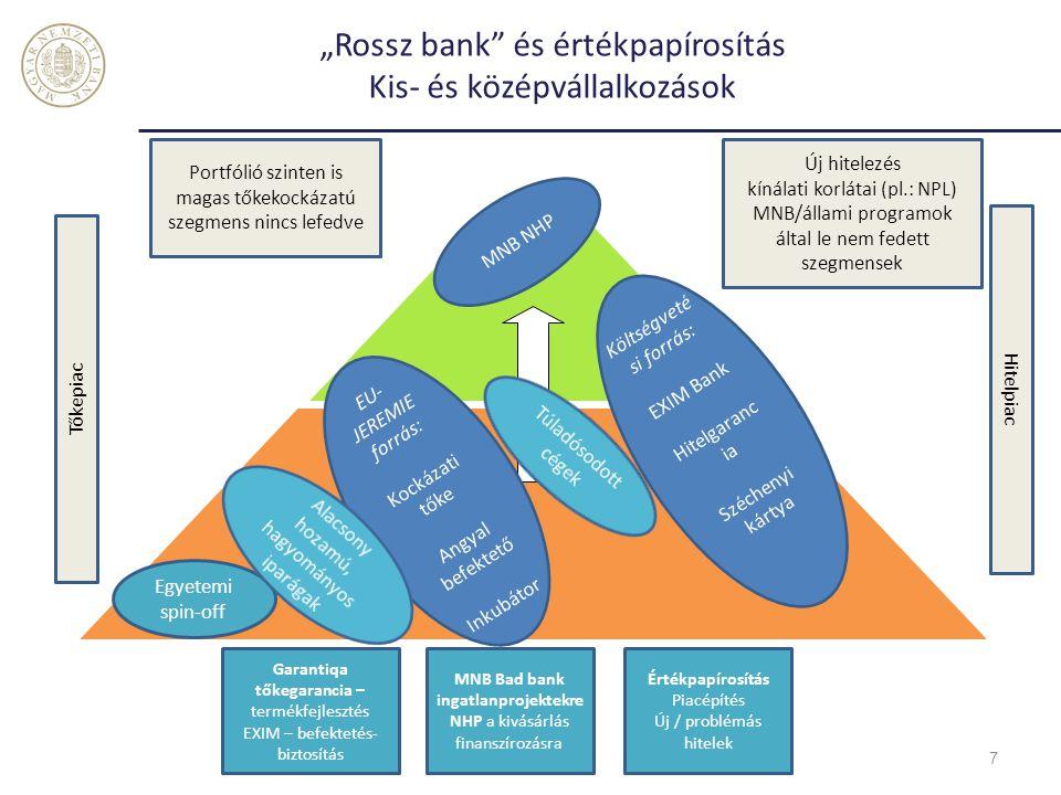 Tőzsdefejlesztés és kötvénypiac fellendítése Nagyvállalatok 8 878 db nagyvállalkozá s 4 604 db középvállalkozás Kockázati tőke a hagyományos iparágban Magántőke alap, vállalat felvásárlás IPO – nincs exit lehetőség Hazai részvénypiac vegetál, gyakorlatilag nincs vállalati kötvénypiac Új hitelezés kínálati korlátai (pl.: NPL) A vállalati kötvénypiac fellendítése Átváltozó kötvény IPO-val BÉT fejlesztés MNB Bad bank Tőkepiac Hitelpiac Költség vetési forrás: EXIM Bank MNB NHP
