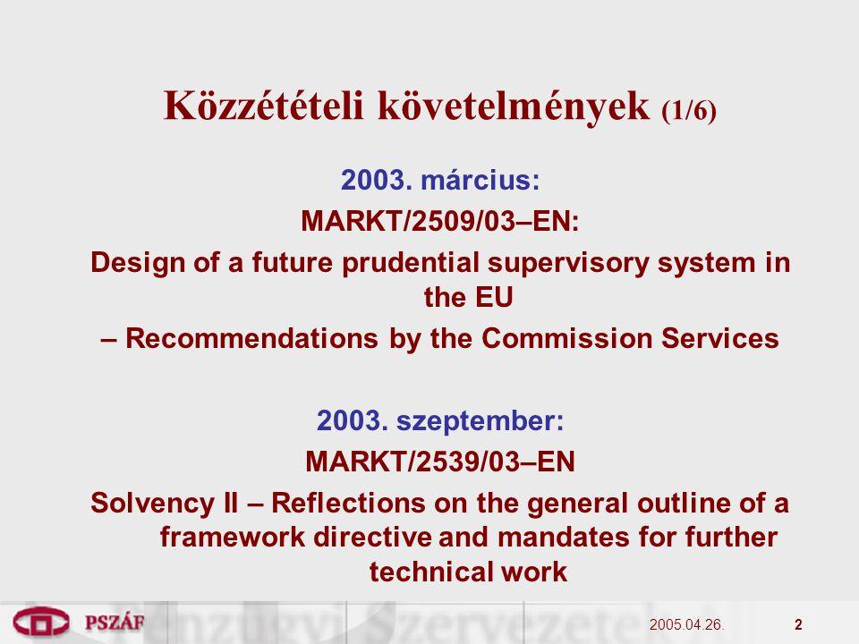 2 Közzétételi követelmények (1/6) 2003.