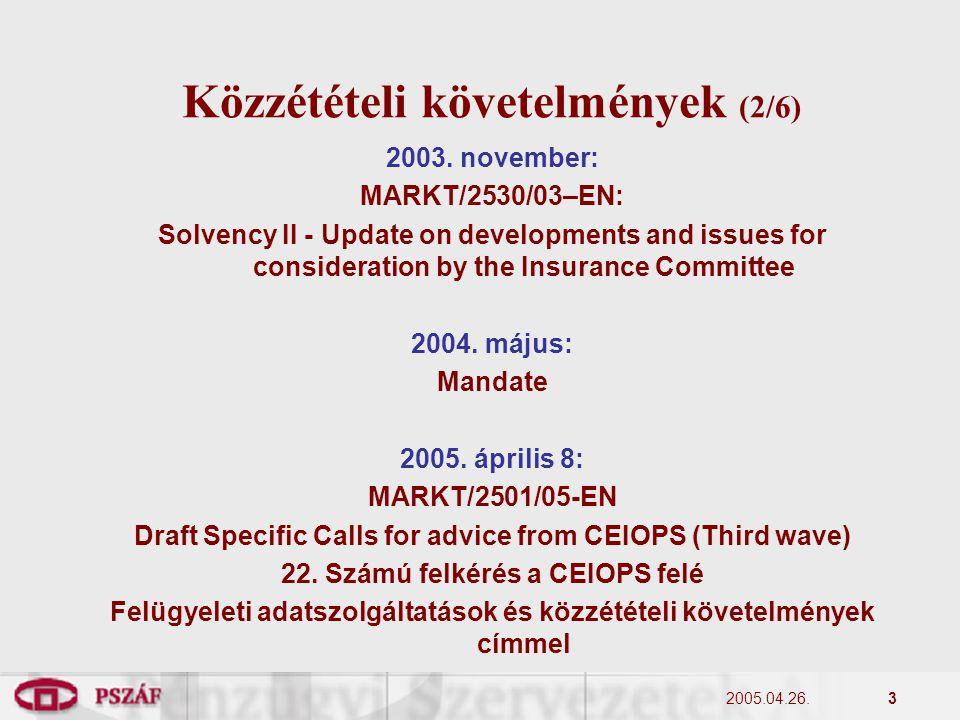 2005.04.26.3 Közzétételi követelmények (2/6) 2003.