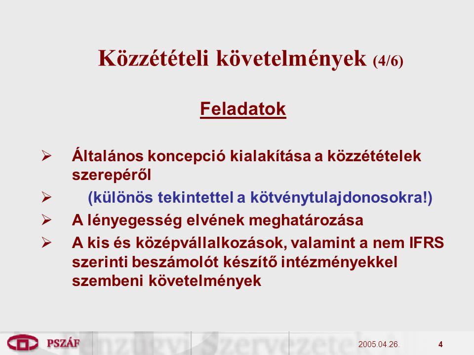 2005.04.26.4 Közzétételi követelmények (4/6) Feladatok  Általános koncepció kialakítása a közzétételek szerepéről  (különös tekintettel a kötvénytulajdonosokra!)  A lényegesség elvének meghatározása  A kis és középvállalkozások, valamint a nem IFRS szerinti beszámolót készítő intézményekkel szembeni követelmények