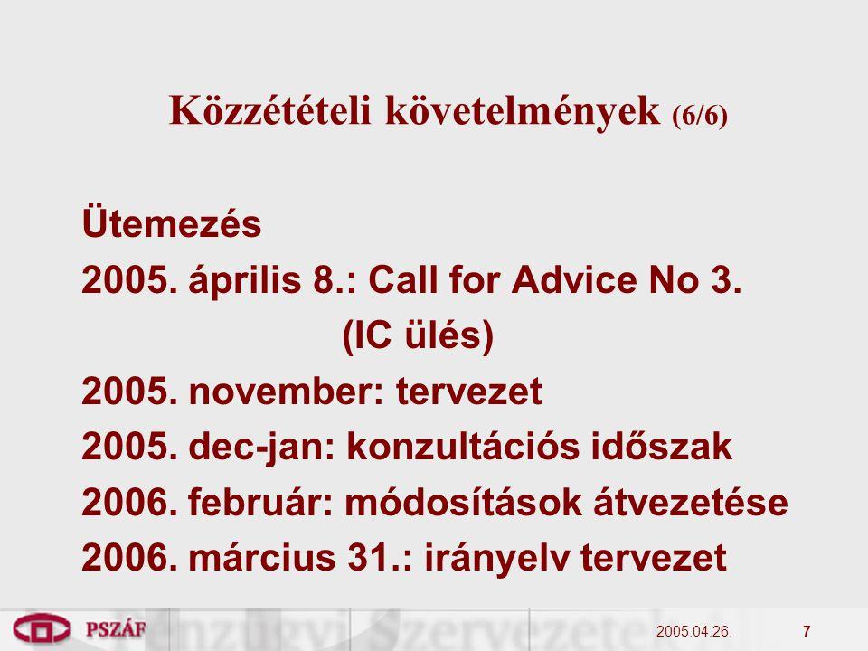 2005.04.26.7 Közzétételi követelmények (6/6) Ütemezés 2005.