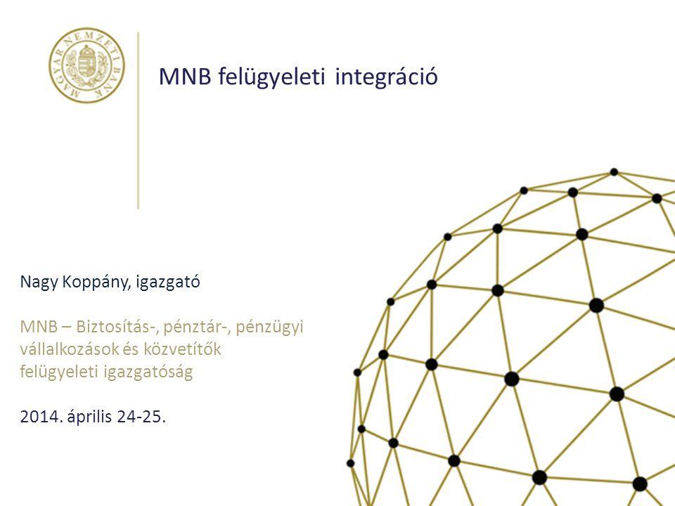 Nagy Koppány, igazgató MNB – Biztosítás-, pénztár-, pénzügyi vállalkozások és közvetítők felügyeleti igazgatóság 2014. április 24-25. MNB felügyeleti