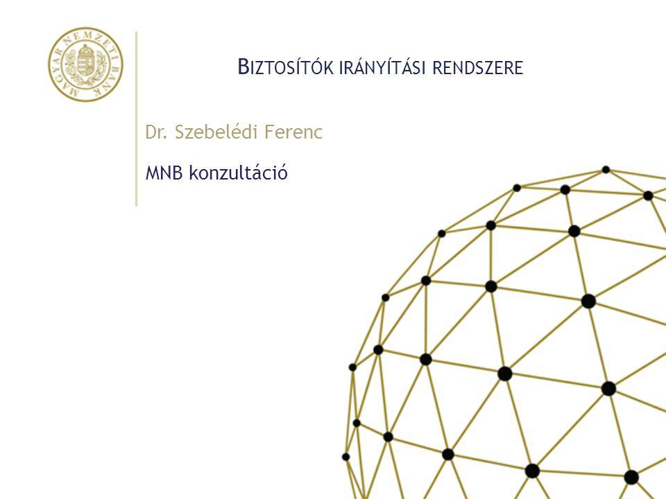 B IZTOSÍTÓK IRÁNYÍTÁSI RENDSZERE MNB konzultáció Dr. Szebelédi Ferenc