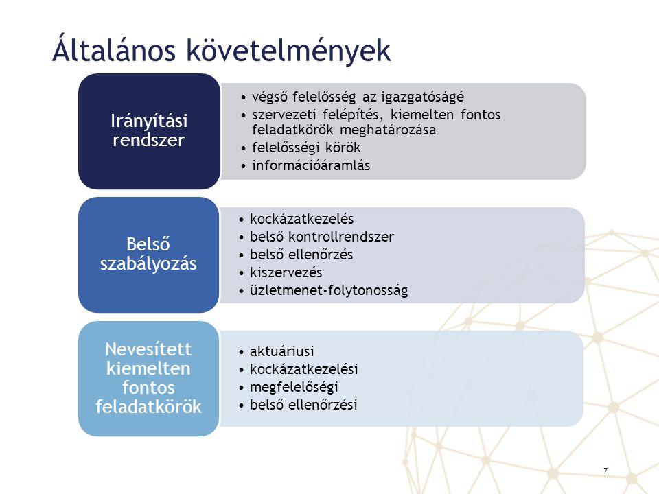 Általános követelmények végső felelősség az igazgatóságé szervezeti felépítés, kiemelten fontos feladatkörök meghatározása felelősségi körök informáci