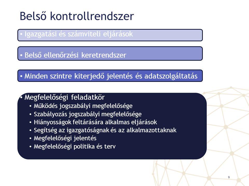 Belső kontrollrendszer Igazgatási és számviteli eljárások Belső ellenőrzési keretrendszer Minden szintre kiterjedő jelentés és adatszolgáltatás Megfel