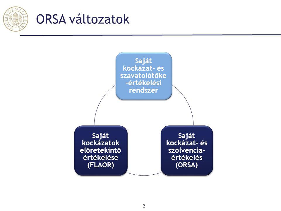 ORSA változatok 2 Saját kockázat- és szavatolótőke -értékelési rendszer Saját kockázat- és szolvencia- értékelés (ORSA) Saját kockázatok előretekintő értékelése (FLAOR)