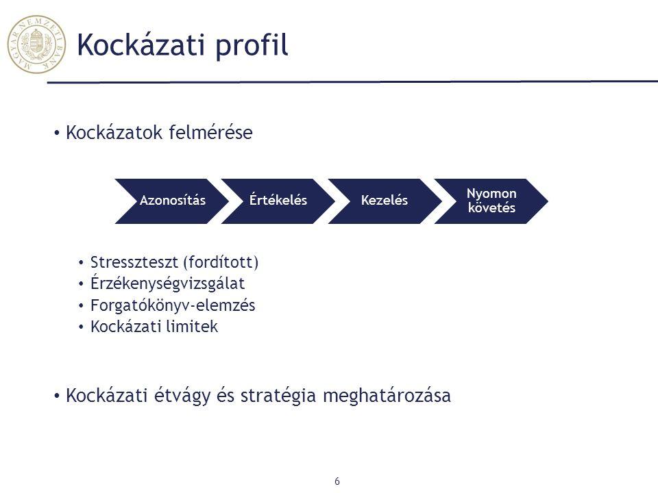 Tőkehelyzet értékelése 7 Összhangban a stratégiával, üzleti tervvel Minimum 3 év Időtáv Jelenlegi és Jövőbeli kockázatok Kockázati profil Pl.