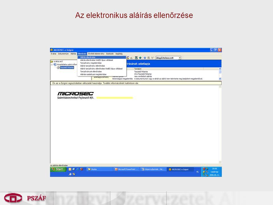 Az elektronikus aláírás ellenőrzése