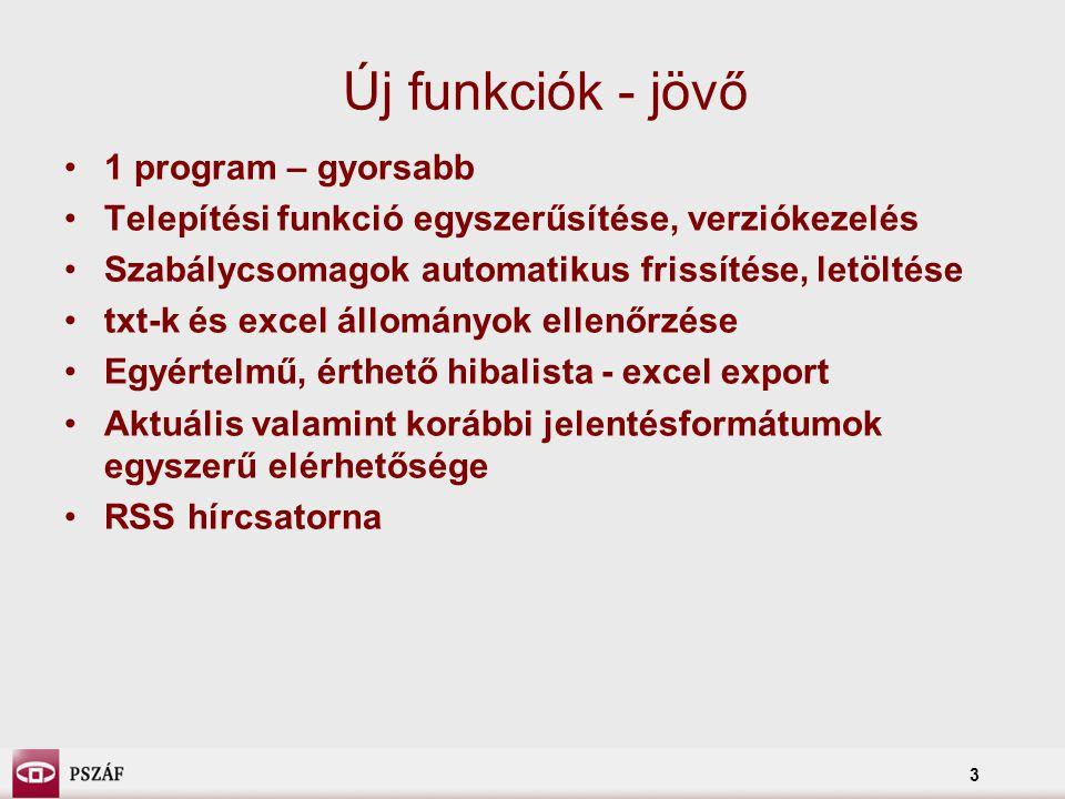 3 Új funkciók - jövő 1 program – gyorsabb Telepítési funkció egyszerűsítése, verziókezelés Szabálycsomagok automatikus frissítése, letöltése txt-k és