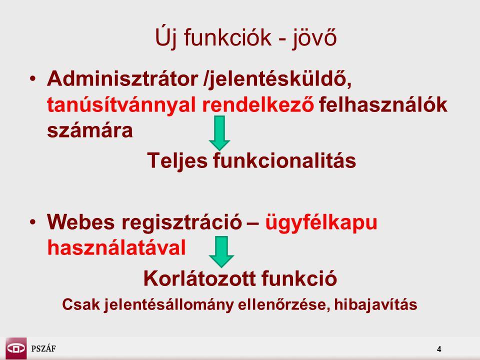 4 Új funkciók - jövő Adminisztrátor /jelentésküldő, tanúsítvánnyal rendelkező felhasználók számára Teljes funkcionalitás Webes regisztráció – ügyfélka
