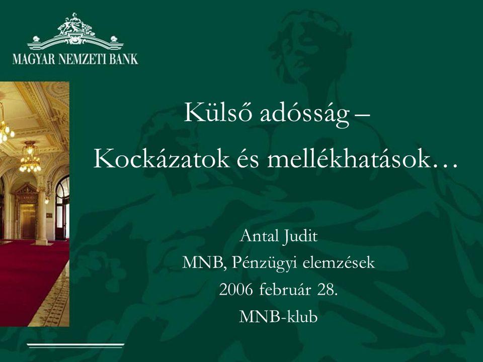 Külső adósság – Kockázatok és mellékhatások… Antal Judit MNB, Pénzügyi elemzések 2006 február 28.