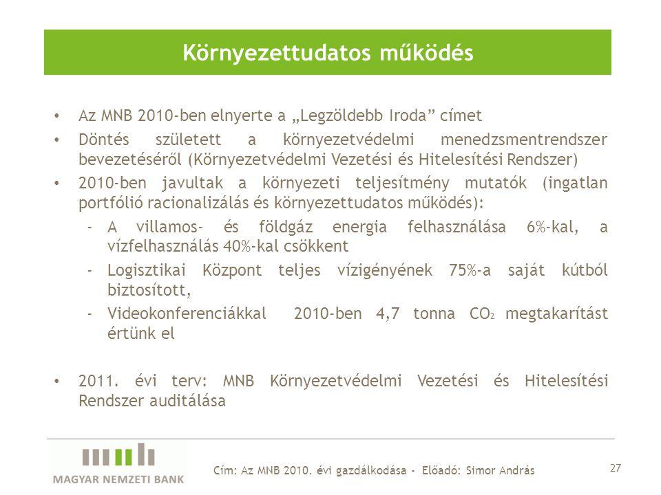 """Az MNB 2010-ben elnyerte a """"Legzöldebb Iroda címet Döntés született a környezetvédelmi menedzsmentrendszer bevezetéséről (Környezetvédelmi Vezetési és Hitelesítési Rendszer) 2010-ben javultak a környezeti teljesítmény mutatók (ingatlan portfólió racionalizálás és környezettudatos működés): -A villamos- és földgáz energia felhasználása 6%-kal, a vízfelhasználás 40%-kal csökkent -Logisztikai Központ teljes vízigényének 75%-a saját kútból biztosított, -Videokonferenciákkal 2010-ben 4,7 tonna CO 2 megtakarítást értünk el 2011."""