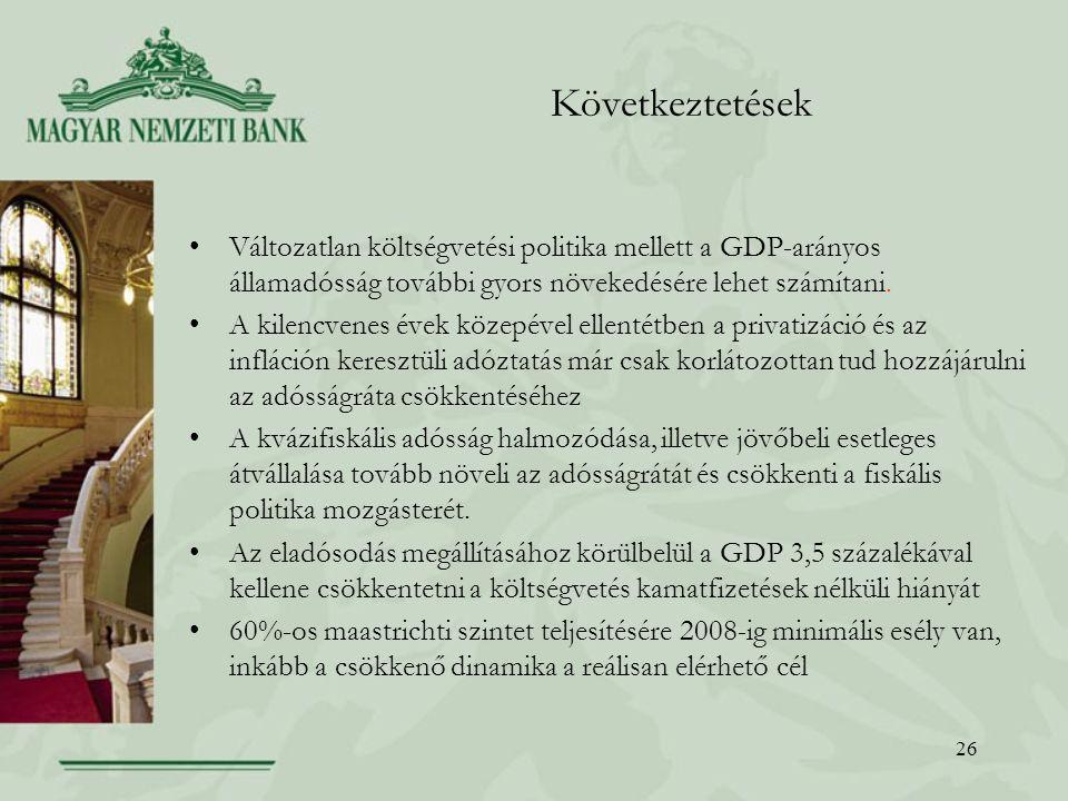 26 Következtetések Változatlan költségvetési politika mellett a GDP-arányos államadósság további gyors növekedésére lehet számítani.
