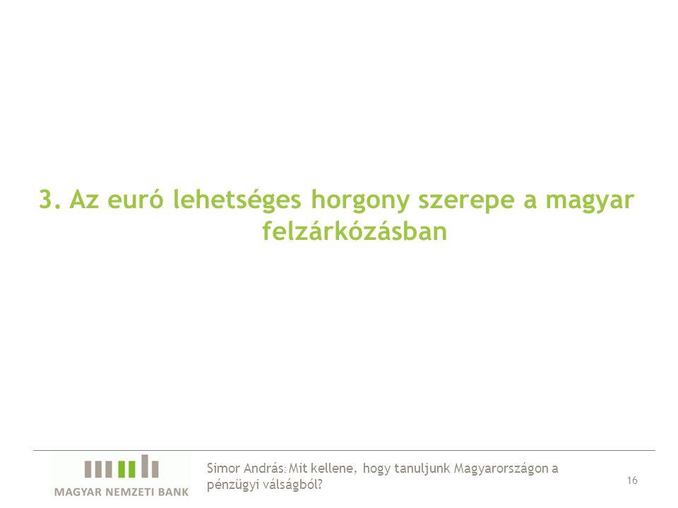 3. Az euró lehetséges horgony szerepe a magyar felzárkózásban 16 Simor András : Mit kellene, hogy tanuljunk Magyarországon a pénzügyi válságból?