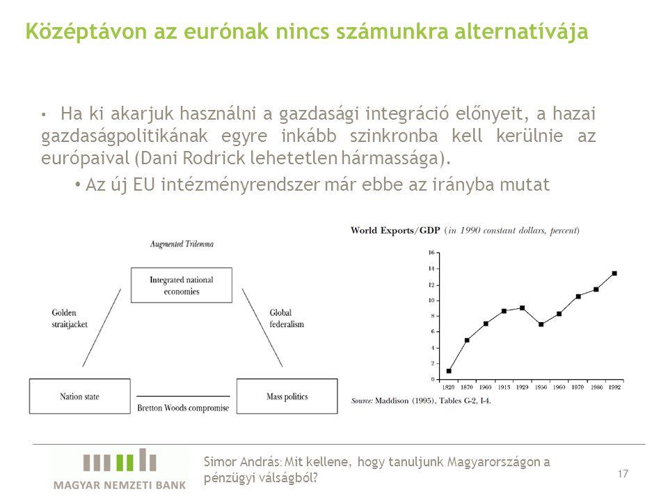 Középtávon az eurónak nincs számunkra alternatívája Ha ki akarjuk használni a gazdasági integráció előnyeit, a hazai gazdaságpolitikának egyre inkább