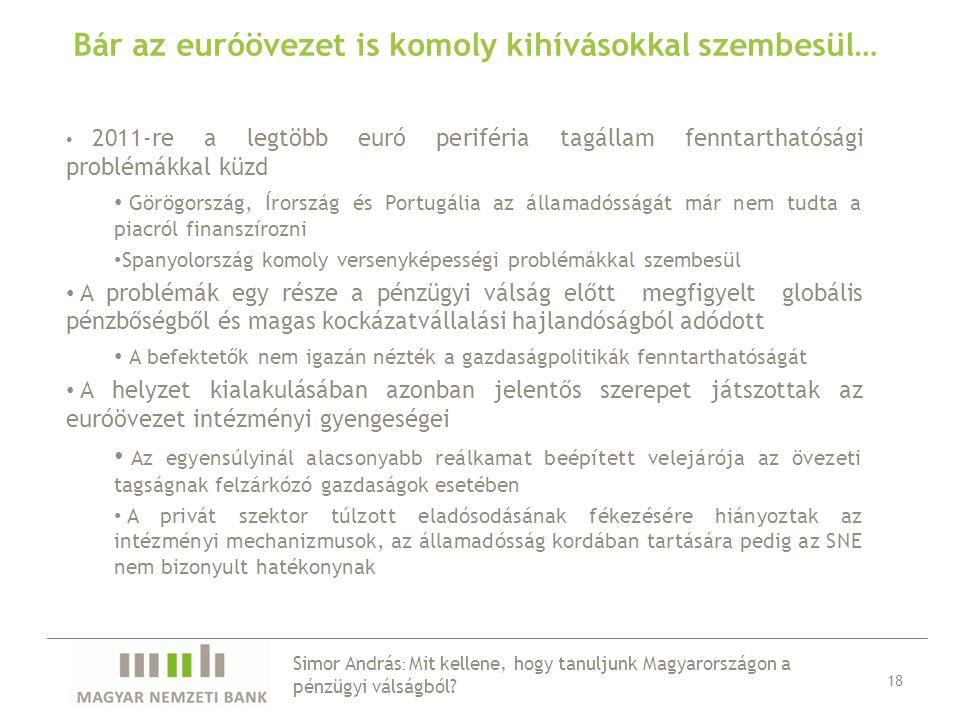 Bár az euróövezet is komoly kihívásokkal szembesül… 2011-re a legtöbb euró periféria tagállam fenntarthatósági problémákkal küzd Görögország, Írország és Portugália az államadósságát már nem tudta a piacról finanszírozni Spanyolország komoly versenyképességi problémákkal szembesül A problémák egy része a pénzügyi válság előtt megfigyelt globális pénzbőségből és magas kockázatvállalási hajlandóságból adódott A befektetők nem igazán nézték a gazdaságpolitikák fenntarthatóságát A helyzet kialakulásában azonban jelentős szerepet játszottak az euróövezet intézményi gyengeségei Az egyensúlyinál alacsonyabb reálkamat beépített velejárója az övezeti tagságnak felzárkózó gazdaságok esetében A privát szektor túlzott eladósodásának fékezésére hiányoztak az intézményi mechanizmusok, az államadósság kordában tartására pedig az SNE nem bizonyult hatékonynak 18 Simor András : Mit kellene, hogy tanuljunk Magyarországon a pénzügyi válságból