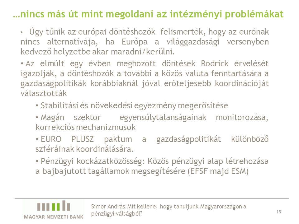 …nincs más út mint megoldani az intézményi problémákat Úgy tűnik az európai döntéshozók felismerték, hogy az eurónak nincs alternatívája, ha Európa a világgazdasági versenyben kedvező helyzetbe akar maradni/kerülni.
