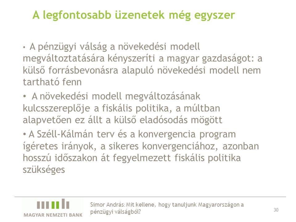 A legfontosabb üzenetek még egyszer 30 A pénzügyi válság a növekedési modell megváltoztatására kényszeríti a magyar gazdaságot: a külső forrásbevonásra alapuló növekedési modell nem tartható fenn A növekedési modell megváltozásának kulcsszereplője a fiskális politika, a múltban alapvetően ez állt a külső eladósodás mögött A Széll-Kálmán terv és a konvergencia program ígéretes irányok, a sikeres konvergenciához, azonban hosszú időszakon át fegyelmezett fiskális politika szükséges Simor András : Mit kellene, hogy tanuljunk Magyarországon a pénzügyi válságból