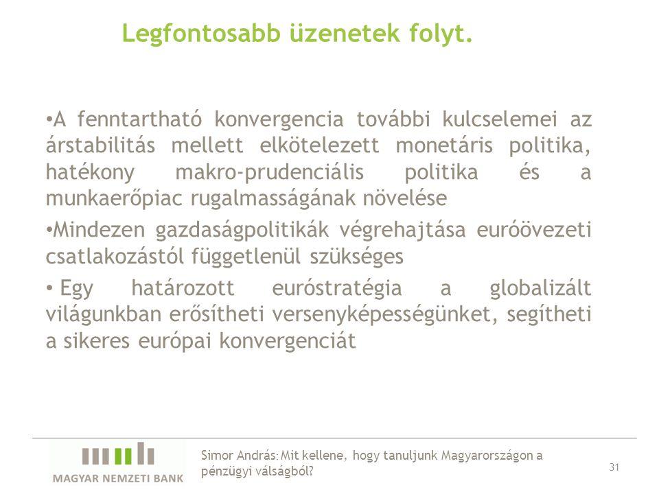 Legfontosabb üzenetek folyt. 31 A fenntartható konvergencia további kulcselemei az árstabilitás mellett elkötelezett monetáris politika, hatékony makr