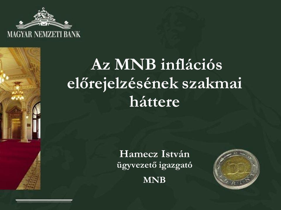 Az MNB inflációs előrejelzésének szakmai háttere Hamecz István ügyvezető igazgató MNB