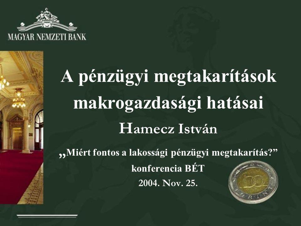 """A pénzügyi megtakarítások makrogazdasági hatásai H amecz István """" Miért fontos a lakossági pénzügyi megtakarítás konferencia BÉT 2004."""