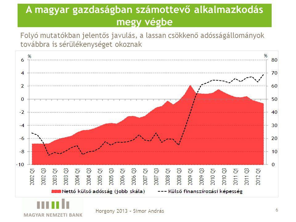 6 A magyar gazdaságban számottevő alkalmazkodás megy végbe Horgony 2013 – Simor András Folyó mutatókban jelentős javulás, a lassan csökkenő adósságáll