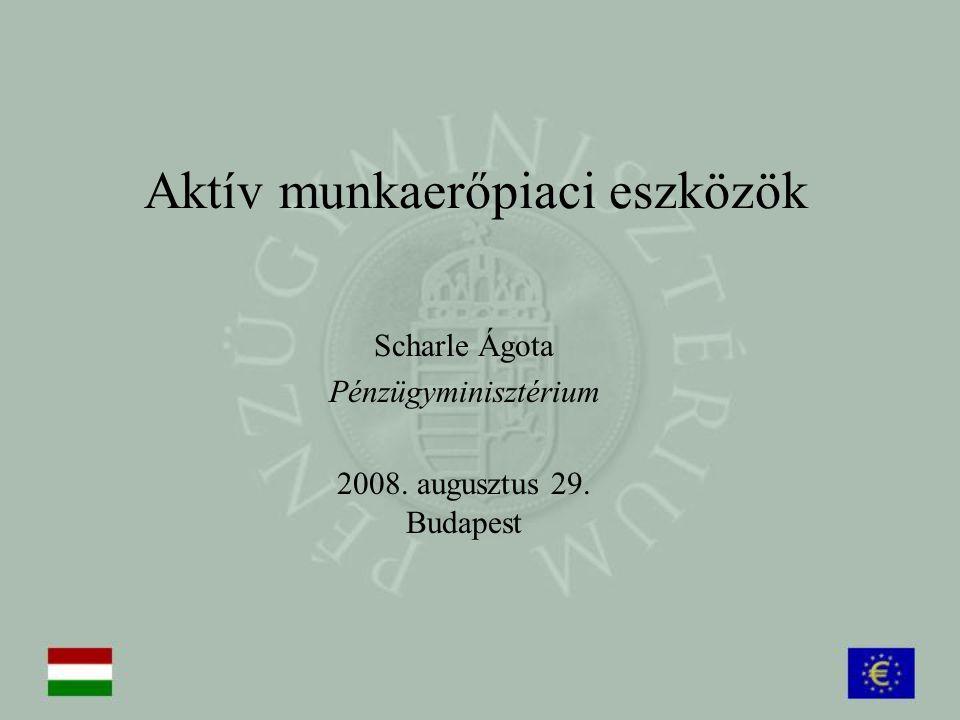 Aktív munkaerőpiaci eszközök Scharle Ágota Pénzügyminisztérium 2008. augusztus 29. Budapest
