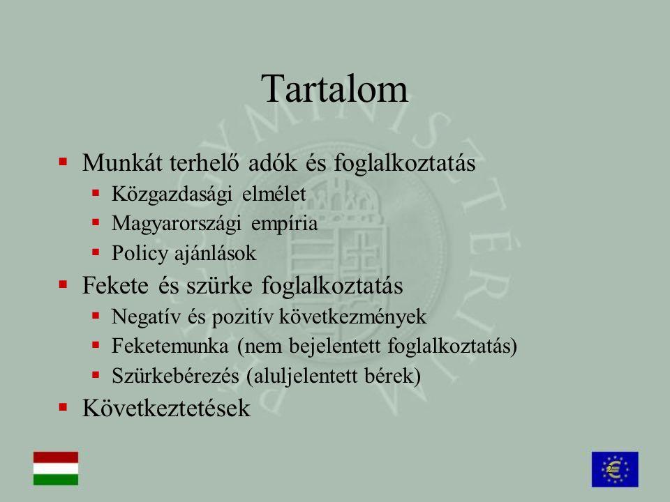 2 Tartalom  Munkát terhelő adók és foglalkoztatás  Közgazdasági elmélet  Magyarországi empíria  Policy ajánlások  Fekete és szürke foglalkoztatás