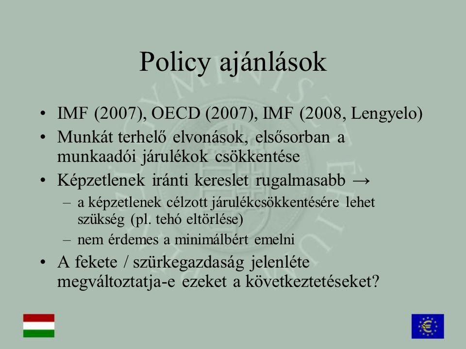 8 Policy ajánlások IMF (2007), OECD (2007), IMF (2008, Lengyelo) Munkát terhelő elvonások, elsősorban a munkaadói járulékok csökkentése Képzetlenek ir