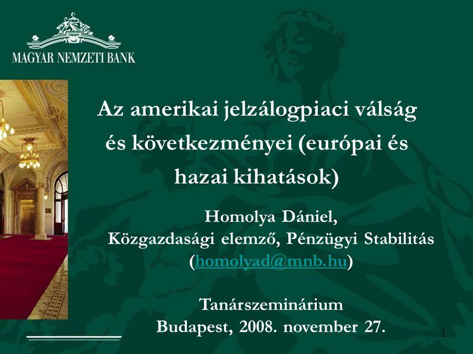 1 Az amerikai jelzálogpiaci válság és következményei (európai és hazai kihatások) Homolya Dániel, Közgazdasági elemző, Pénzügyi Stabilitás (homolyad@mnb.hu)homolyad@mnb.hu Tanárszeminárium Budapest, 2008.