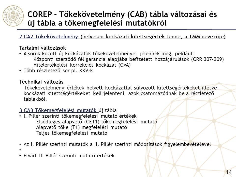 COREP- Új kiegészítő tábla a Szavatoló tőke (CAA) táblához – CA4 Tájékoztató adatok 4 CA4 Tájékoztató adatok Célja: A CA4 tábla a CA1 egyes elemeinek kiszámítását bemutató tájékoztató adatokat, valamint a CRD szerinti tőkepufferekkel kapcsolatos információkat tartalmazza.