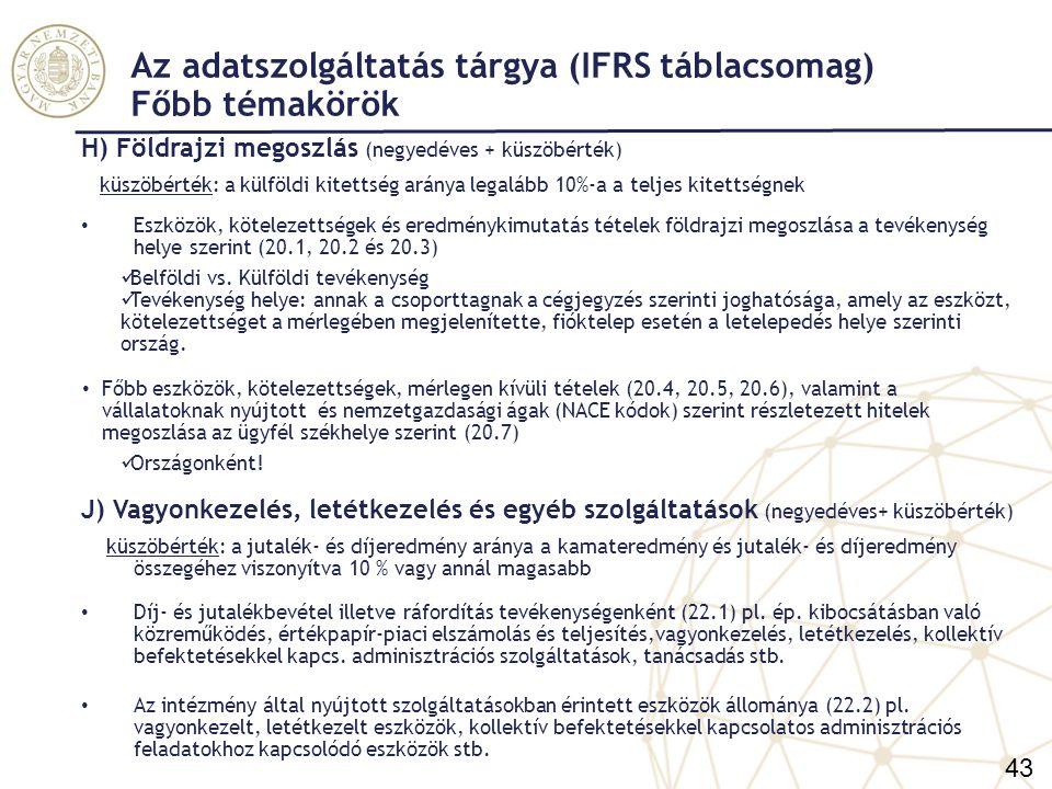 Az adatszolgáltatás tárgya (IFRS táblacsomag) Főbb témakörök I) Tárgyi eszközök és immateriális javak Tárgyi eszközök és immateriális javak értékelési modellenként (42.) (éves) Operatív lízingbe adott tárgyi eszközök és immateriális javak az előző táblával megegyező szerkezetben (21.) (negyedéves + küszöbérték) küszöbérték (a 21.