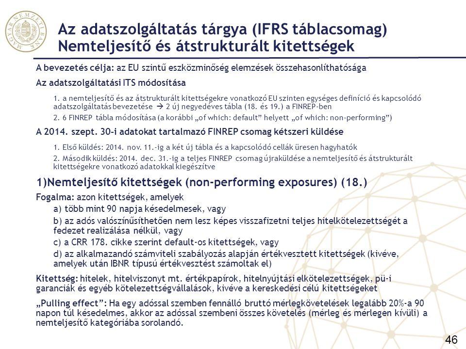 Az adatszolgáltatás tárgya (IFRS táblacsomag) Nemteljesítő és átstrukturált kitettségek Kilépési feltételek 1.