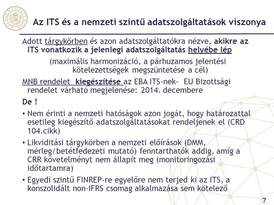 Az ITS bevezetésének következményei a teljes hitelintézeti adatszolgáltatási rendszerre Legnagyobb változás: Azon bankcsoportok, akik már alkalmazzák az IFRS-eket konszolidált beszámolóiknál, azok 2014-től a felügyeleti konszolidált jelentéseiket is IFRS alapon kötelesek készíteni 8 nagy bankcsoportok érint Egyedi szintű jelentések továbbra is HAS alapon készítendők A felügyeleti jelentéseken belüli összhang felborul (DE: közzétételi és szabályozási követelmények konszolidált szinten azonos számviteli keretrendszerbe kerülnek) Középtávú cél: a teljes hitelintézeti szektor álljon át az IFRS- ek alkalmazására egyedi szinten is – szektor szintjén egységes számviteli keretrendszer – adatszolgáltatások összehasonlíthatósága teljeskörűen csak így biztosítható 8