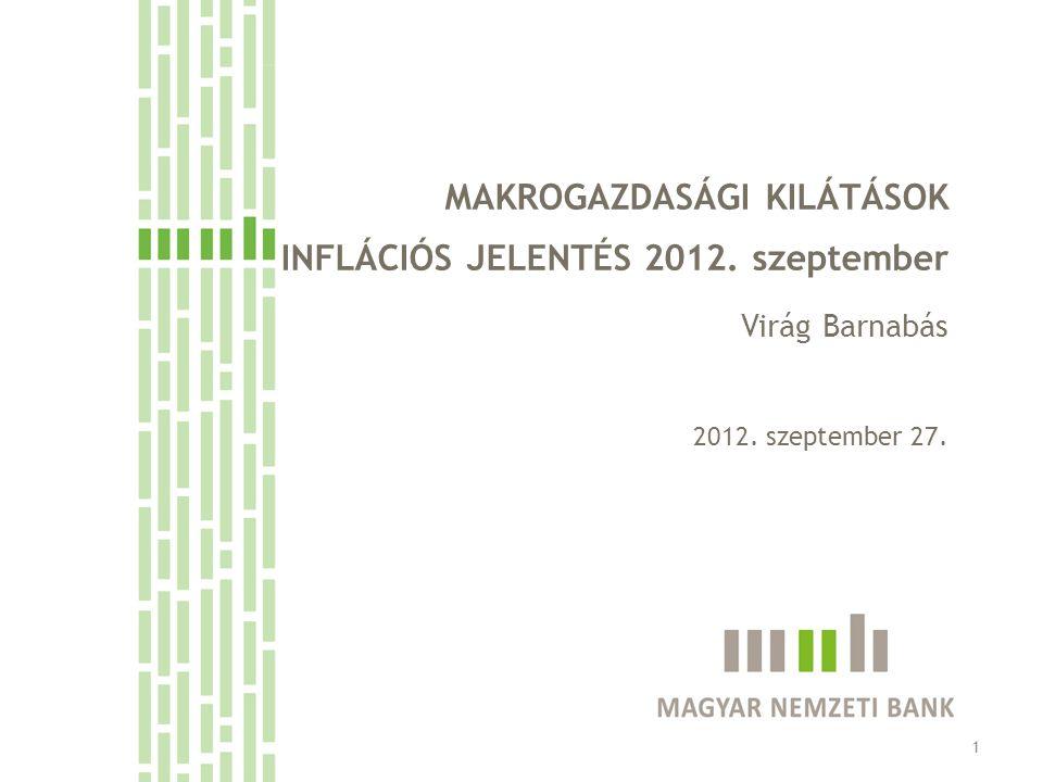 MAKROGAZDASÁGI KILÁTÁSOK INFLÁCIÓS JELENTÉS 2012. szeptember Virág Barnabás 2012. szeptember 27. 1