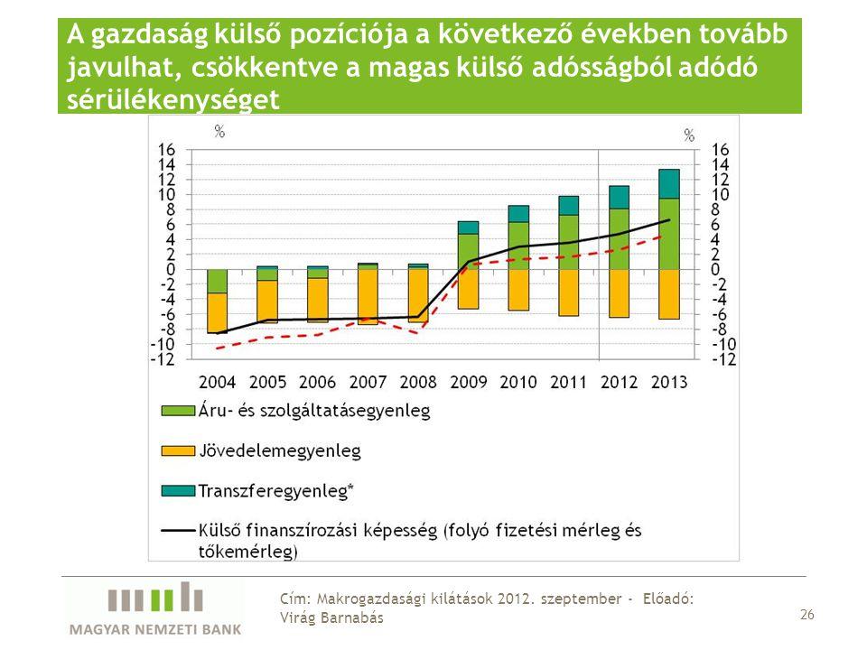 A gazdaság külső pozíciója a következő években tovább javulhat, csökkentve a magas külső adósságból adódó sérülékenységet 26 Cím: Makrogazdasági kilátások 2012.