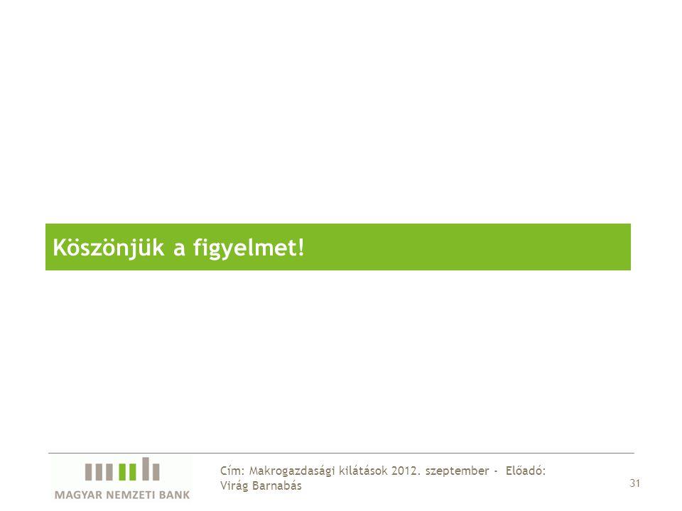 Köszönjük a figyelmet! 31 Cím: Makrogazdasági kilátások 2012. szeptember - Előadó: Virág Barnabás