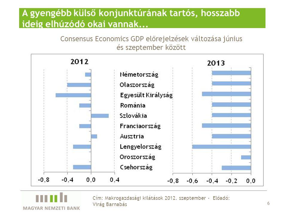A GDP mintegy 1,5 %-át kitevő intézkedésekre lehet szükség a jövő évi hiánycél teljesítéséhez 27 Cím: Makrogazdasági kilátások 2012.