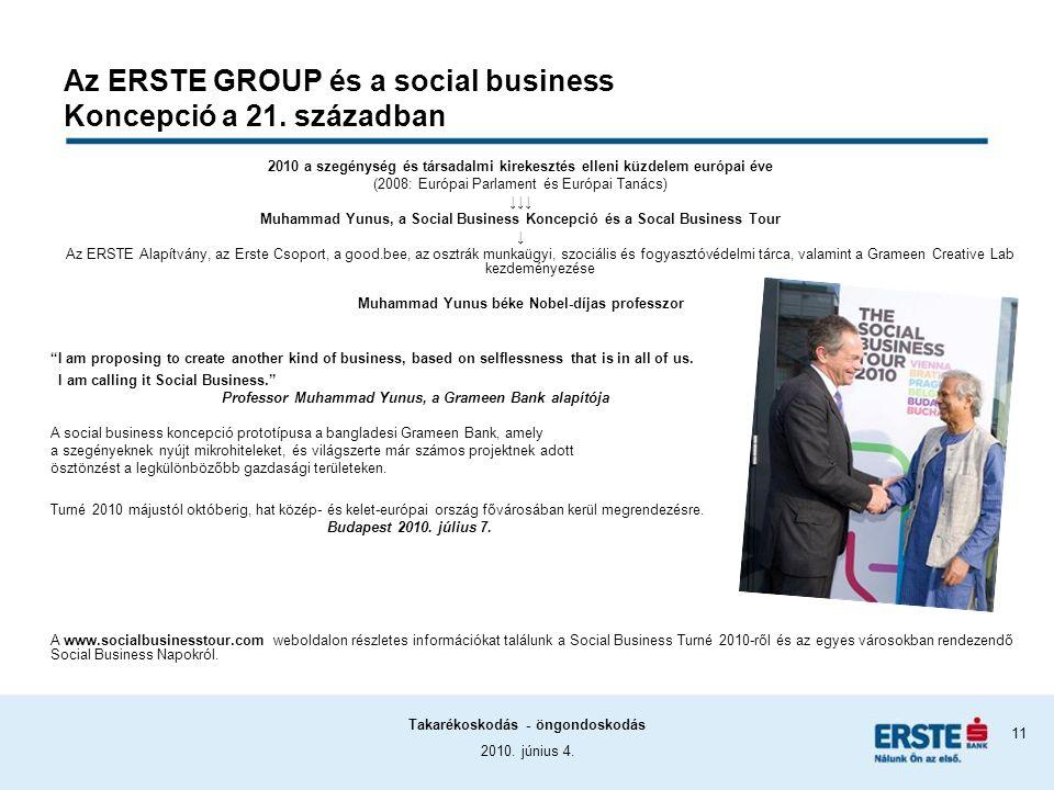 2010. június 4. Takarékoskodás - öngondoskodás 11 Az ERSTE GROUP és a social business Koncepció a 21. században 2010 a szegénység és társadalmi kireke